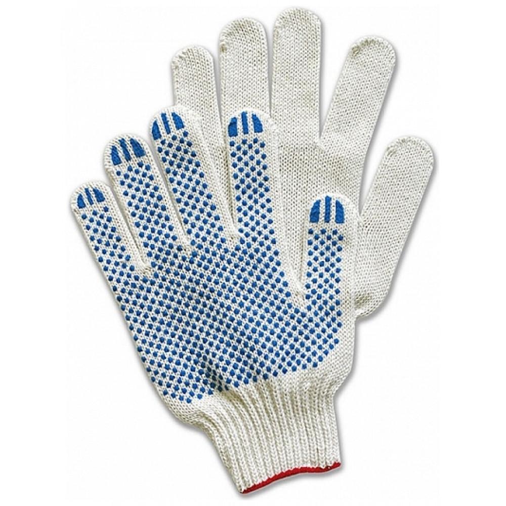 Перчатки х/б с точечным ПВХ покрытием, 5-нитка